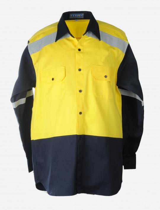 Hi-Viz Work Shirt (Yellow / Dark Blue)