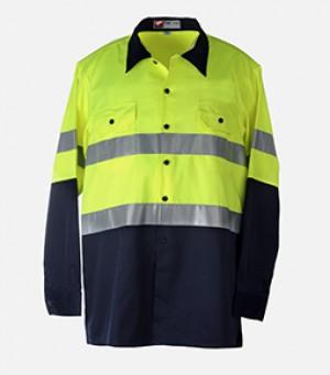 Hi-Viz Work Shirt (Hi-Viz Yellow / Dark Blue)